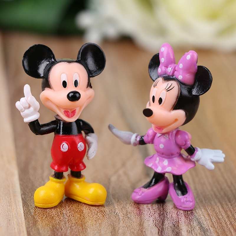 6PCS Disney  Mickey Mouse Minnie Figures Set Birthday Party Cake Decoration PVC Anime Doll Childrens Gifts