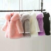 2-10Y Winter kids faux fur Hood coats Jacket long sleeve Warm Christmas birthday Girl fur Coat parka for teenage Kids Clothes