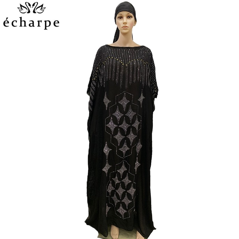 new african tranditional long loose dress vintage hippie dashiki caftan ethnic indian 2020 New African Oversize Chiffon African Loose Size Diamond Women Casual Dress Dashiki robe BD01