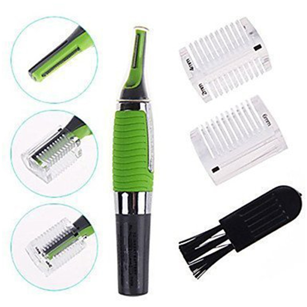 Eyebrow Hair Trimmer Shaver Clipper Nose Remover Ear Face Neck with LED light and Non-slip Grip Clea