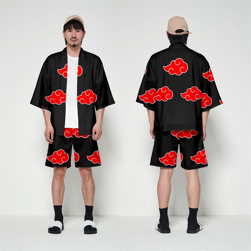 Kimono Naruto Akatsuki de nube roja, Cosplay para mujeres y hombres, chaqueta de disfraz de Halloween Uchiha Itachi con manga de siete puntos