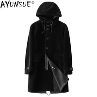 ayunsue winter jacket men suede mens clothing genuine wool fur coat male long parka hooded jackets mens clothes chaqueta lxr800