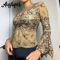 auyiufar fairy grunge sexy v neck flare sleeve top vintage floral print ruched drawstring cropped blouse goblincore women outfit