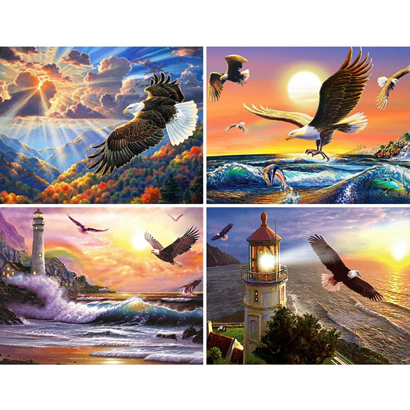 5D DIY diamante pintura completa cuadrado águila Animal decoración del hogar bordado manualidades arte Kits