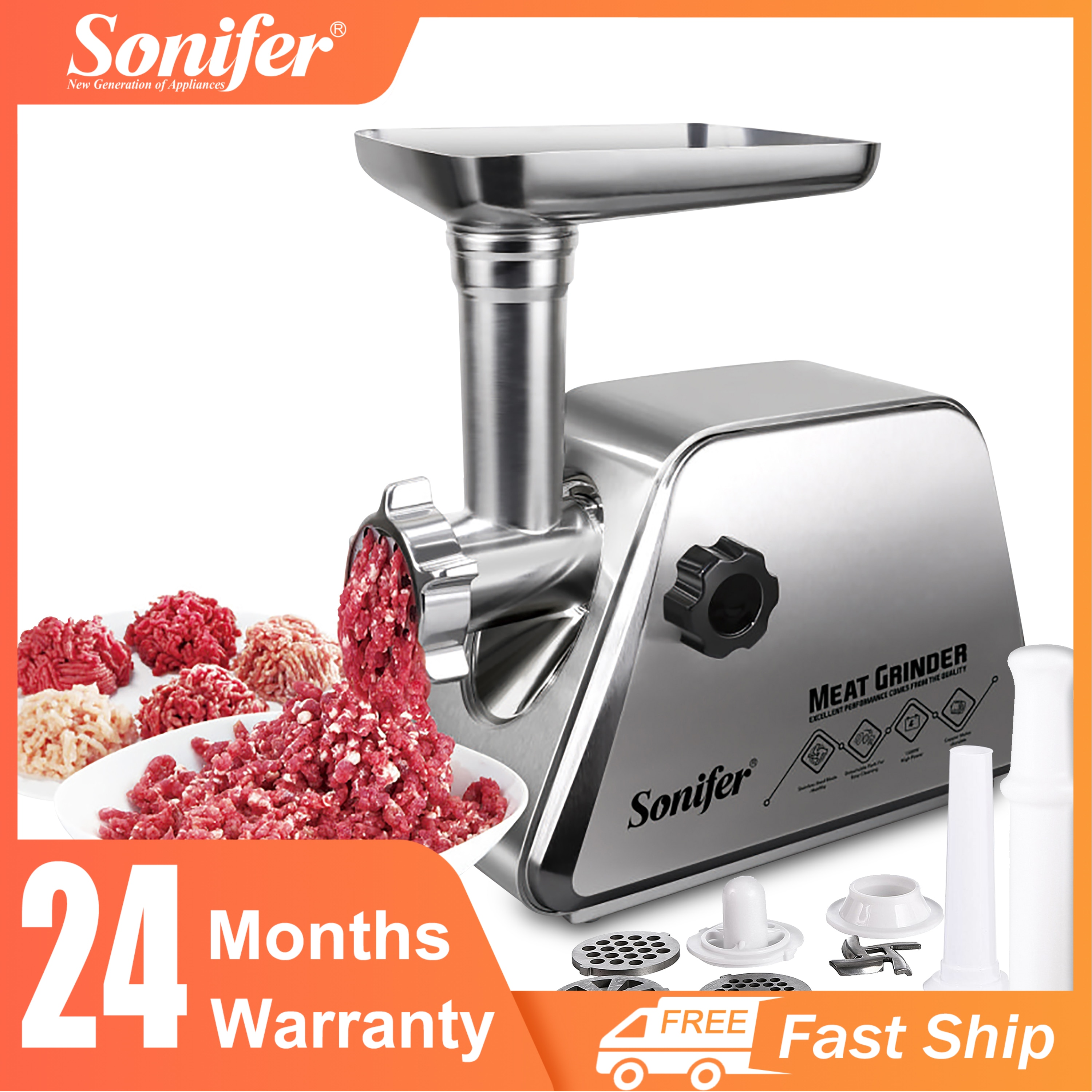 Electric Meat Grinders Stainless Steel Heavy Duty Mincer Sausage Stuffer Food Processor Home Appliances Kitchen Chopper Sonifer