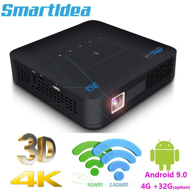 Smartldea P15 العارض 4K 3D Android9.0 5G Wifi BT HD في 4G 32G DLP Proyector النهار المسرح المنزلي متعاطي المخدرات Airpay Miracast