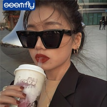 seemfly Fashion Black Exaggerated Sunglasses Women Luxury Men punk Cat Eye Sun Glasses Vintage UV400