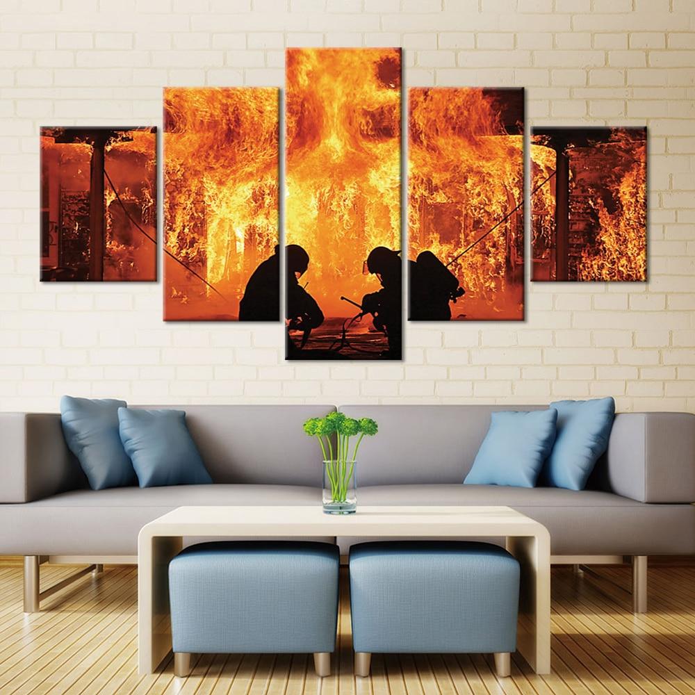 Carteles e impresiones de arte de pared lienzo pintura de bombero 5 Panel imagen decoración del hogar