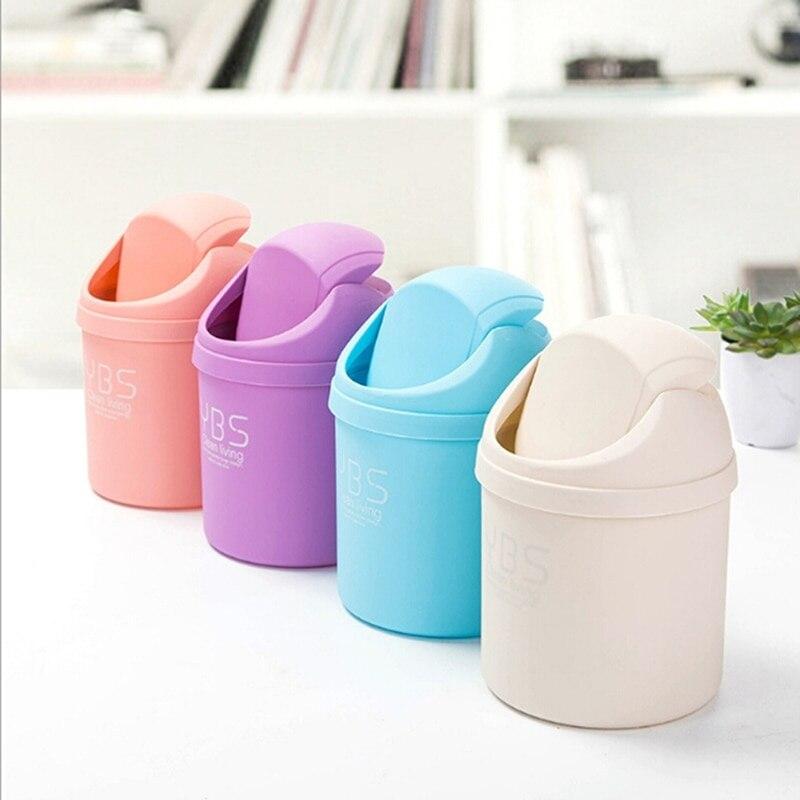 Mini lixo bin caixa de armazenamento de desktop casa cesta de lixo recipiente mesa de lixo pode balanço barril de limpeza organizador de mesa de armazenamento