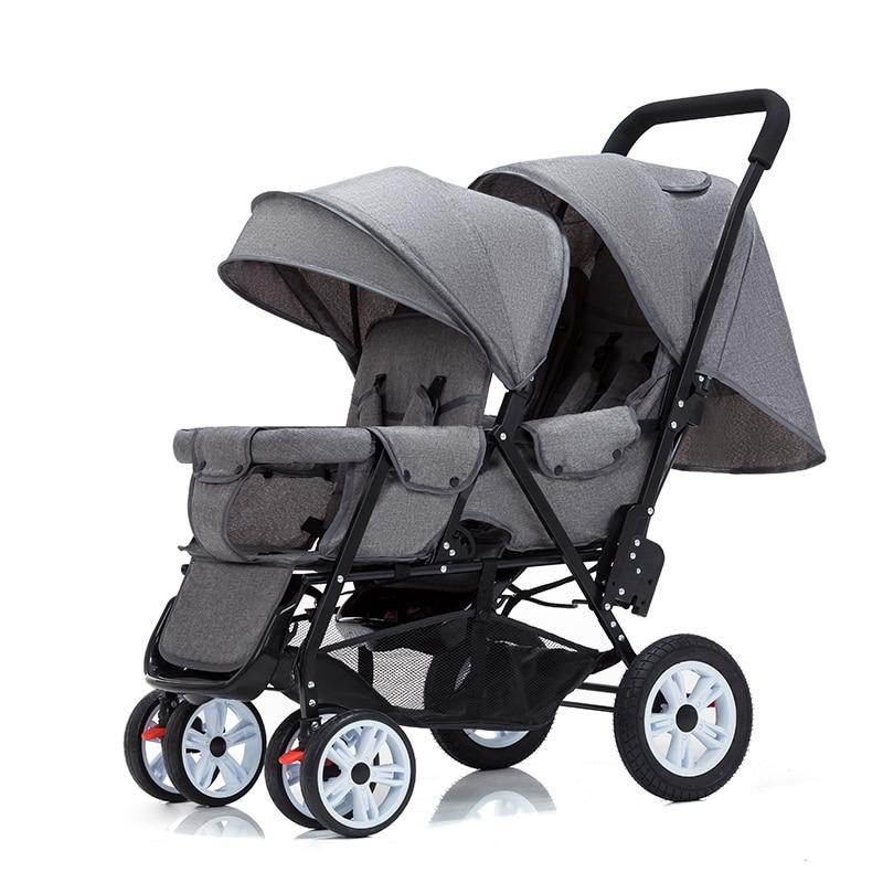عربة أطفال مزدوجة للجلوس والاستلقاء ، عربة أطفال بأربع عجلات ، عربة ذات مقعد مزدوج ، خفيفة الوزن ، من 0 إلى 4 سنوات