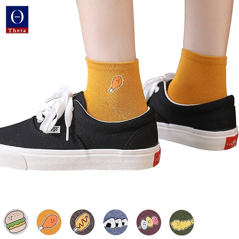 Комплект женских однотонных повседневных тонких летних коротких носков THETA, 1 пара хлопковых ножных носков с рисунком в японском стиле