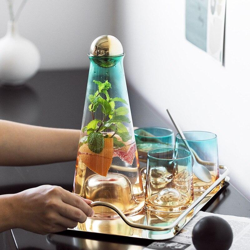 الشمال ضوء فاخر الباردة غلاية كوب ماء 1100 مللي الإبداع الزجاج المياه وير غرفة المعيشة المنزلي عصير إبريق زجاجة مياه بارد مجموعة