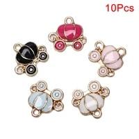 10pcsset enamel alloy pumpkin wagon charms pendants diy craft jewelry findings