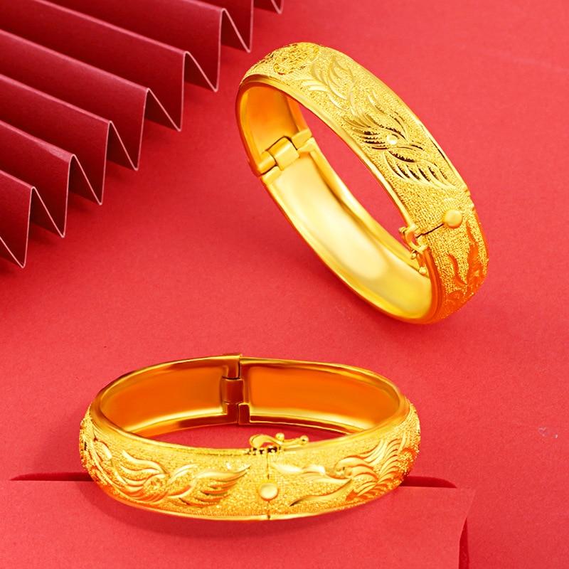 24K الذهب الأصفر مطلي سوار أساور للنساء الرجال الفاخرة التنين فينيكس سوار ذهب الذكرى الزفاف غرامة مجوهرات هدايا