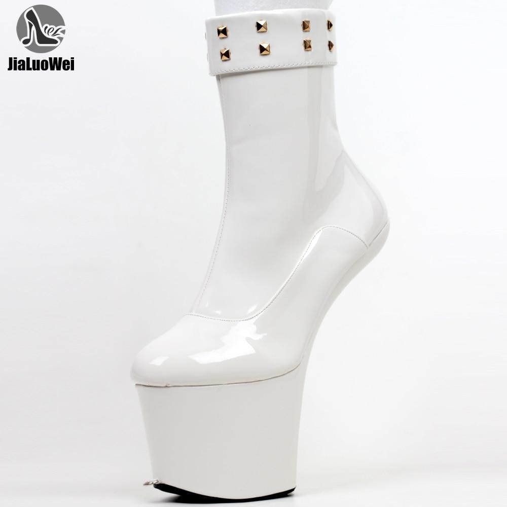 JIALUOWEI 8 بوصة عالية الكعب صنم ذيل حصان قابل للقفل البريدي حذاء من الجلد