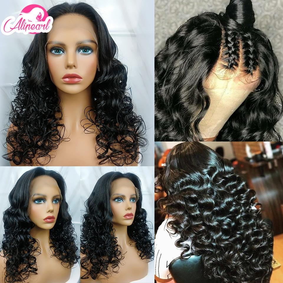 Curly Lace Front Human Hair Wigs Brazilian Virgin Hair Wigs For Black Women Pre Plucked 180% 250% Density AliPear Hair Lace Wig