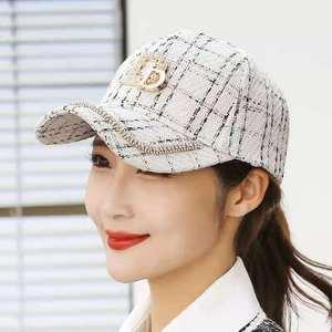 2021 New Autumn and winter Letter D M Baseball Caps Rhinestone Hat Cotton Hip Hop Cap Hats for Women Snap Back  Women's Cap