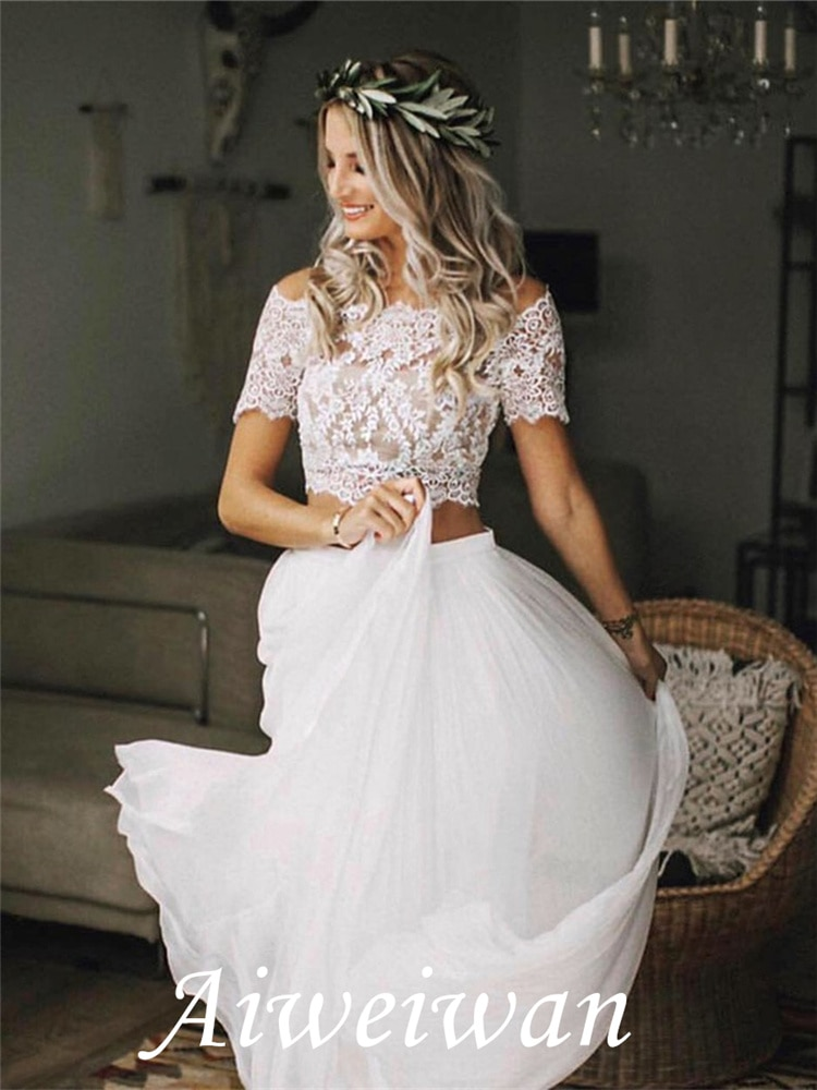 A-Line Two Pieces Off-The-Shoulder Short Sleeves Lace Beach Wedding Dress 2021 plain lace embroidery a line beach dress