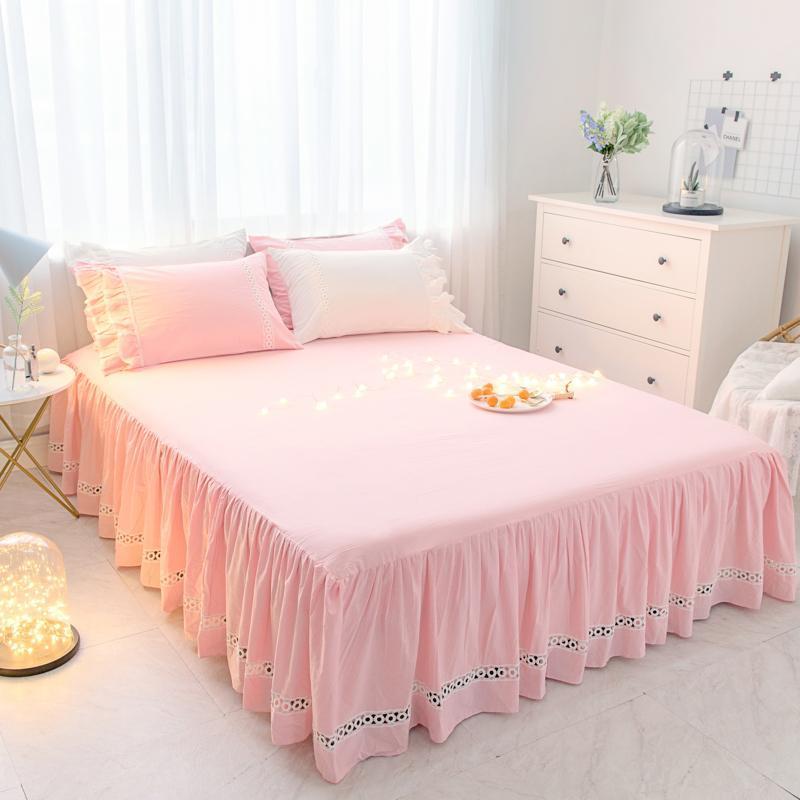 الوردي الأبيض الأزرق الأخضر 100% القطن الفتيات السرير التنانير مجموعة الملك/الملكة/كامل/التوأم حجم غطاء سرير مجموعة سادات طقم سرير