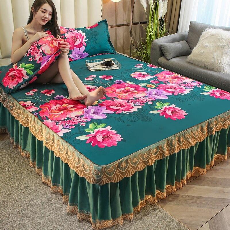 3 قطعة مجموعة الأزهار الطباعة المفرش الملك الملكة التوأم حجم رشاقته الرملي لينة تنورة نوم 1 قطعة تنورة نوم 2 قطعة المخدة