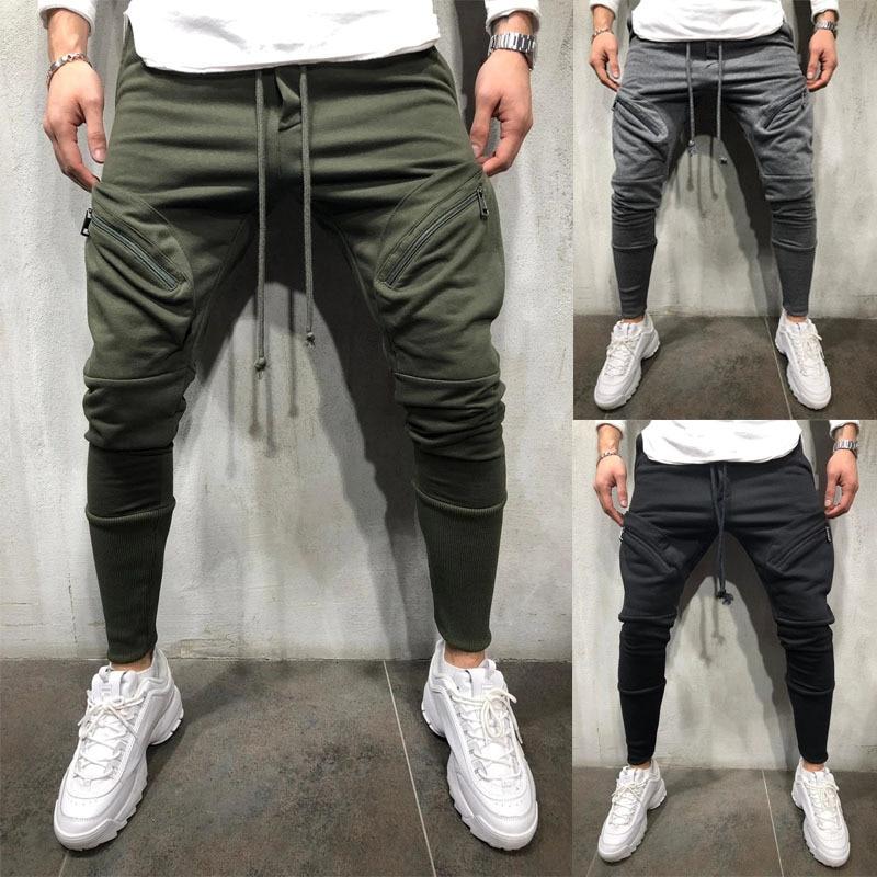 Новинка 2020, модные мужские штаны в стиле хип-поп, мужские спортивные брюки, слаксы, повседневные эластичные джоггеры, спортивные однотонные ...