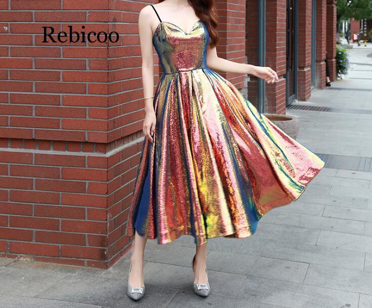 Women's  Long Sequins Bling Bling Dress Glitter Longer Party Dress Elegant Rainbow Dresse Waist Back Hollow