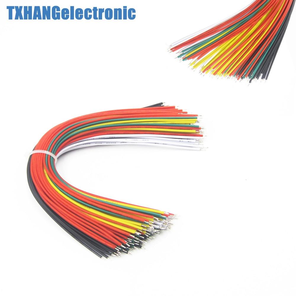 100 pces 20 cm cor flexível duas extremidades estanhado tábua de pão jumper cabo fios