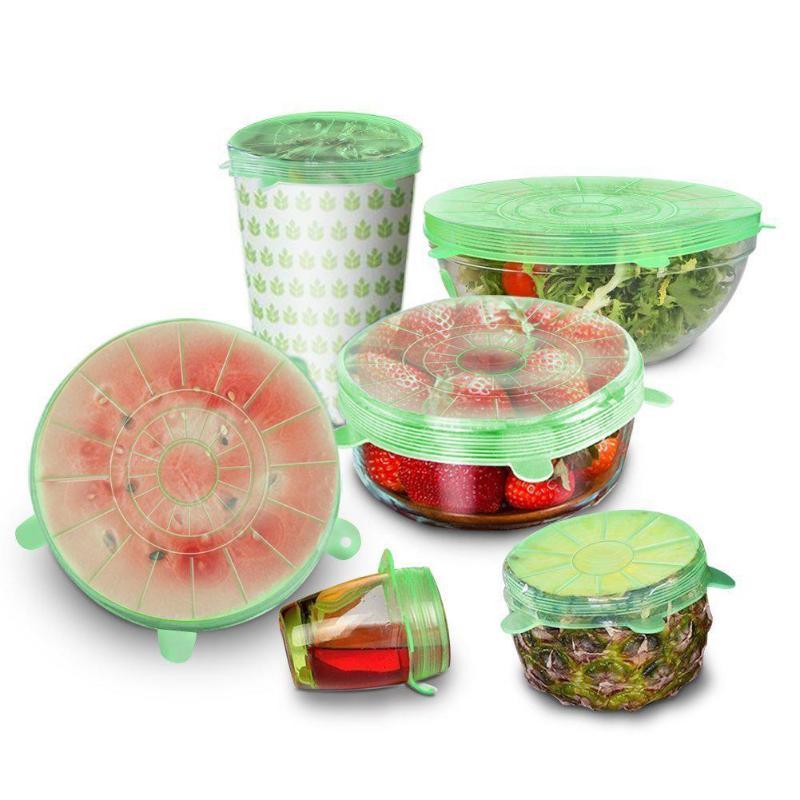 6 unids/set Universal de silicona elástico succión olla tapas para cocina de tapón cubierta cocinar tapas para derrames comida mantenimiento fresco tapa