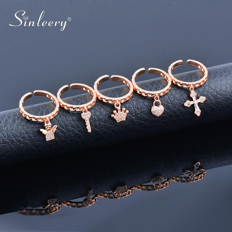 SINLEERY Chic Cubic Zirconia Cross Key Love Heart Crown Angel Pendant Rings Gold Silver Color Rings For Women Jewelry JZ132 SSK