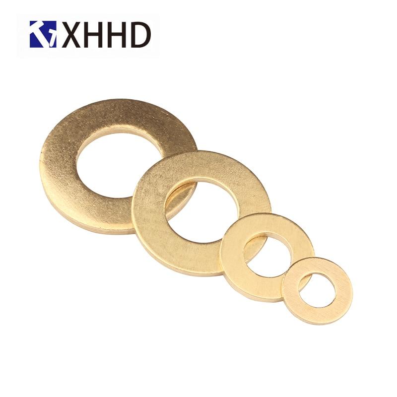 Купить с кэшбэком Flat Sheet Metal Plain Washers Brass Copper Bronze Round Seal Washer Brass Gasket M2 M2.5 M3 M4 M5 M6 M8 M10 M12 M14 M16