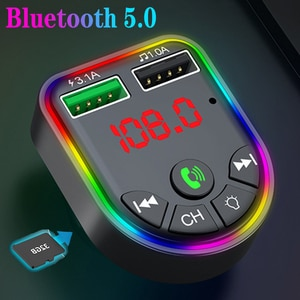 Bluetooth 5.0 FM Transmitter 7-color Atmosphere Light Car Kit  Dual USB Charger Car Mp3 Player Wireless Handsfree Audio Receiver