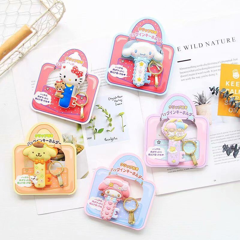 Cute Cartoon Kitty Big Ear Dog Keychains Fashion Kt Melody Silicone Clip Key Chain Bag Pendant Kids Student Gift Keyring