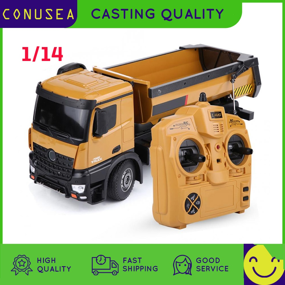 HUINA 1573 1:14 Rc Truck Car Dumper Machine On Control Caterpillar Alloy Engineering Vehicle Remote Control Car Toys for Boy kid