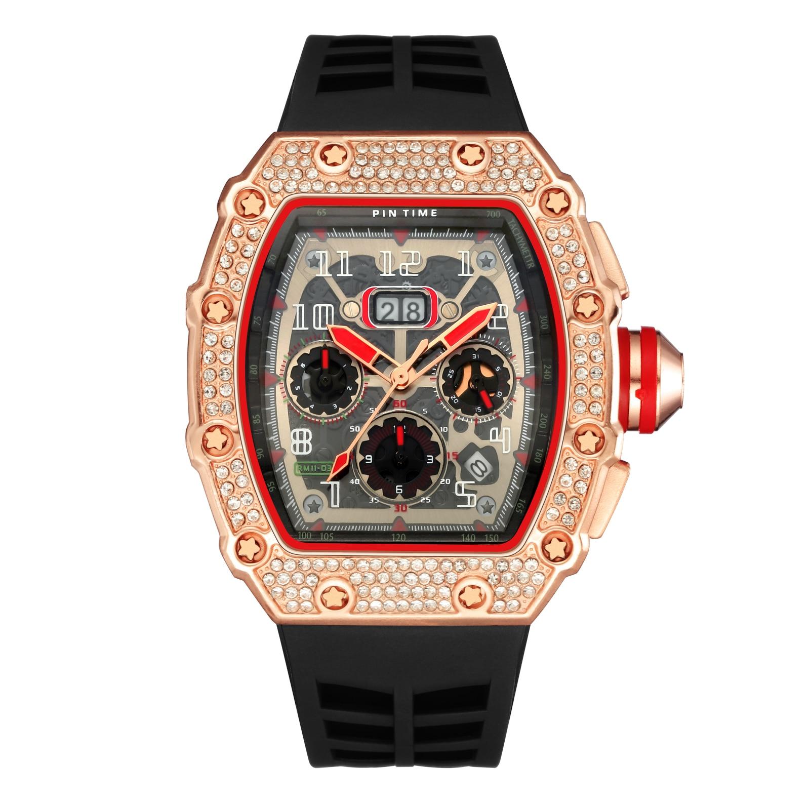 New Diamond Men's Watch Tonneau Gold Watches Men's Big Dial Quartz Watch Male Watches Square Watch Multifunctional Miller Clock