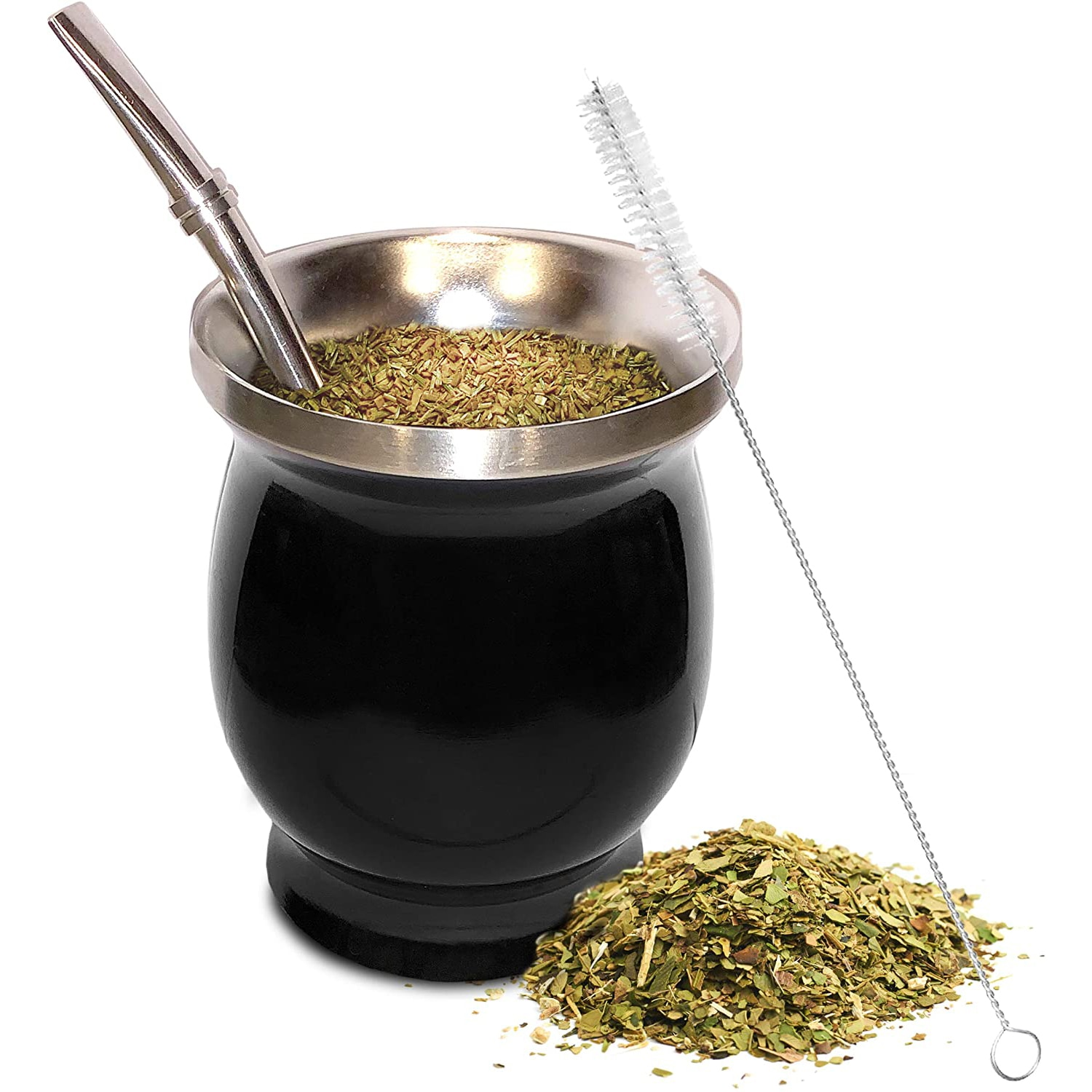 Yerba Mate Natural Gourd/Tea Cup Set 8 Ounces Bombillas Yerba Mate Straw,Cleaning Brush,Stainless Steel,Double-Walled,Easy Clean