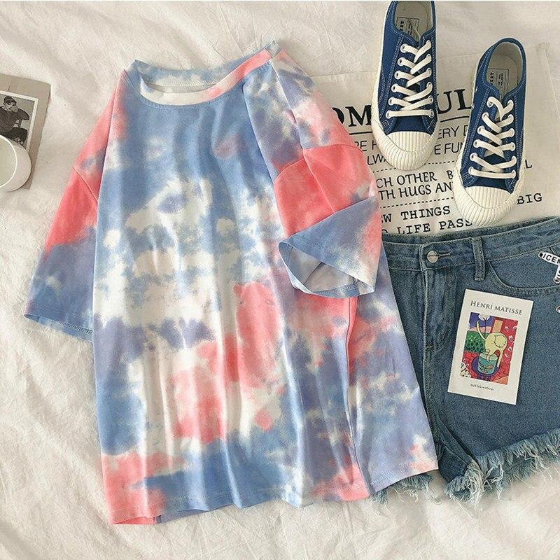 Summer Tie Dye Short Sleeve Women T-shirt Korean Loose Original Ins Half Sleeve Fashion Tee Gradient Colorful Personality Top