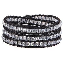 KELITCH cristal clair perles envelopper bracelets pour femme hommes à la mode en cuir corde manchette bracelets bracelet bijoux Couple pulsera