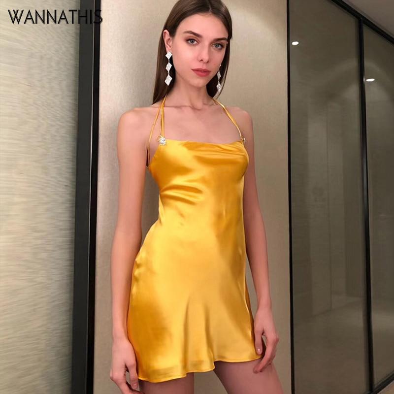 WannaThis satén correa de espagueti sin espalda Mini vestido Sexy de verano hueco Slim señoras elegante fiesta vestido vestidos lazo trasero.