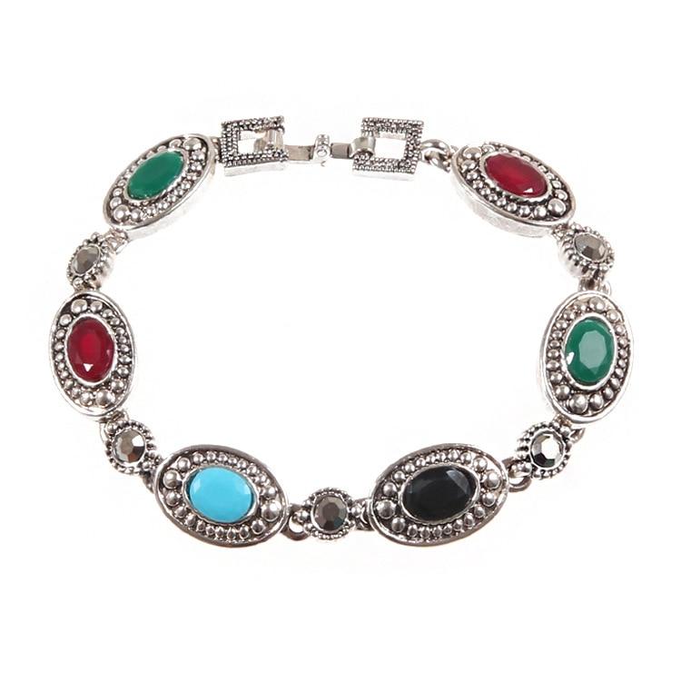 Estilo europeu clássico colorido elipse pedra preciosa galvanizada prata antiga oco para fora diamante conjunto pulseiras femininas yiwu ma