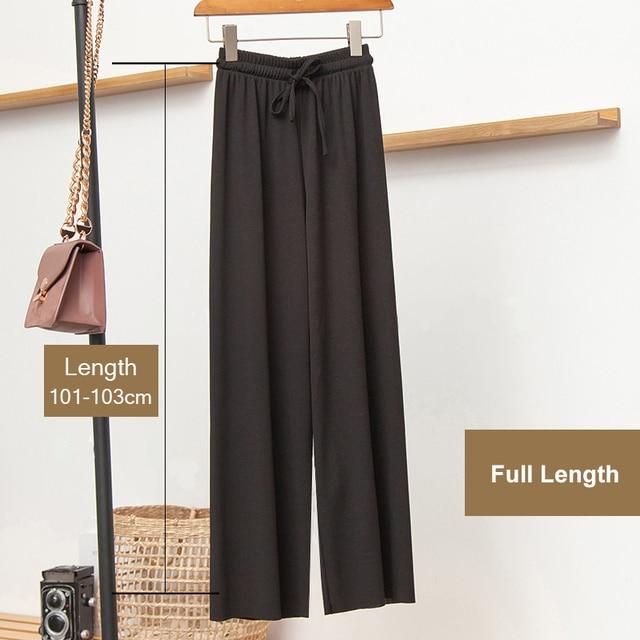 Женские свободные летние брюки-слаксы, мягкие, шелковые, до щиколотки, черные, широкие брюки, серые, хаки, женские брюки с высокой талией   Женская одежда   АлиЭкспресс
