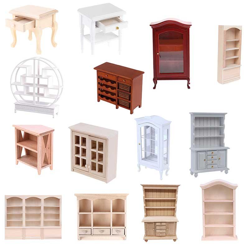 New 1:12 Dollhouse Miniature Wood Display Cupboard Cabinet Showcase Doll House Decor Cabinet Model Chest Cupboard Shelf недорого