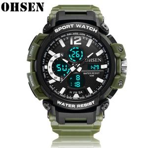 Спортивные мужские часы OHSEN, роскошные светодиодсветодиодный цифровые военные кварцевые часы, мужские водонепроницаемые наручные часы в с...