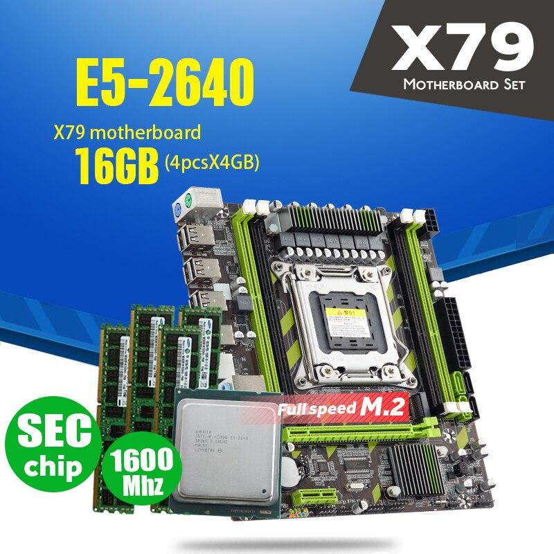 Xeon E5 2640 CPU E5-2640 X79-G X79 Placa base con LGA2011 combos 4 Uds * 4GB = 16GB de memoria DDR3 RAM PC3 12800R 1600Mhz