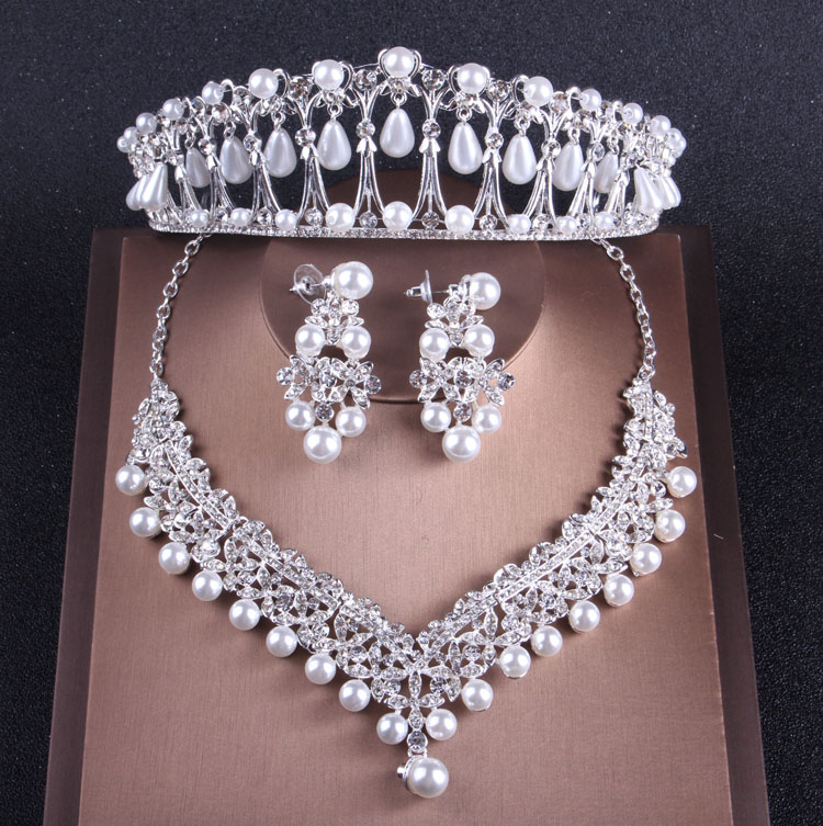 Baroque Luxury Crystal Pearl Costume Jewelry Sets Rhinestone Choker Necklace Earrings Tiara Wedding African Beads Jewelry Set