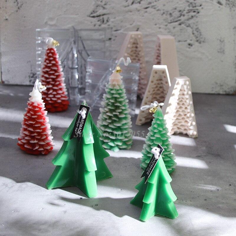 Nuevo molde de vela de árbol de Navidad, molde de silicona para fiestas, molde decorativo para Tartas, molde 3D de acrílico para árbol de Navidad, moldes para velas perfumados diy