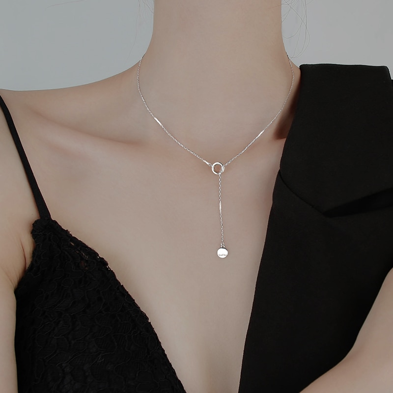Ring Necklace Women's Sterling Silver Necklace Ins Normcore Style Necklace Women's Niche Design Clav