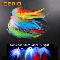 icerio 2pc 3d fish eye colorful luminous fox tail tube streamer fly rooster hackle saltwater flies pike bass fishing fly lure
