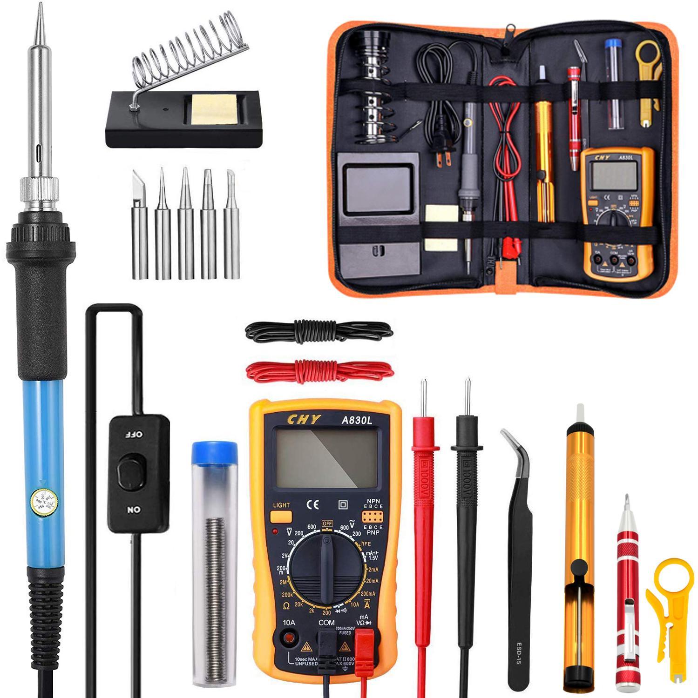 Kit de soldador eléctrico de temperatura ajustable 220 V 110 V 60 W estación de soldadura de soldadura, lápiz de calor, herramientas de reparación