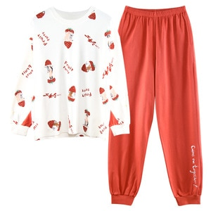 2020 New Autumn And Winter Women's Cotton Pajamas Set Strawberry Red Long-sleeve Tops And Pants Home Wear For Girls Sleepwear