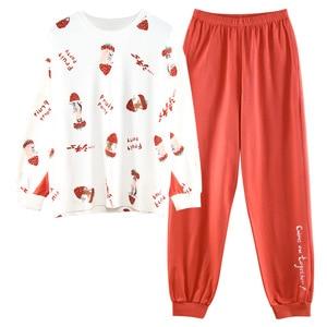 Новинка Осень-зима 2020, Женский хлопковый пижамный комплект, Топ с длинным рукавом и штаны клубнично-красного цвета, домашняя одежда для девочек, одежда для сна